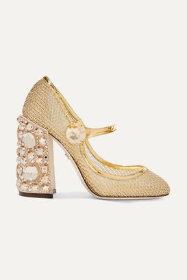 Dolce & Gabbana Crystal-embellished Metallic Mesh Mary Jane Pumps