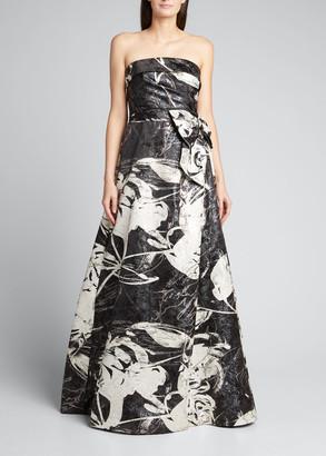 Rickie Freeman For Teri Jon Strapless Abstract Jacquard Gown