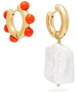 Timeless Pearly Mismatched Baroque Pearl & Gold-plated Earrings - Pearl