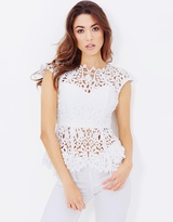 Lumier Painted On My Heart Sheer Neck Top