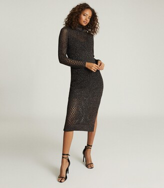 Reiss Antonella - Open-knit Bodycon Dress in Black