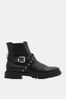 Ardene Faux Leather Combat Chelsea Boots