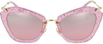 Miu Miu Glittered Cat Eye Frame Sunglasses