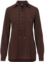 Ralph Lauren Lace-Up Crepe Tunic Top