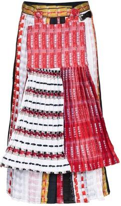 Mariah Esa Mixed Print Pleated Midi Skirt