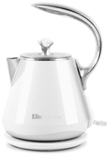 ELITE PLATINUM 1.2L Cool-Touch Stainless Steel Electric Kettle, White
