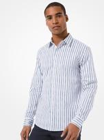 Michael Kors Slim-Fit Striped Stretch Cotton Shirt