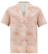 Officine Generale Christelle Palm-print Cotton Shirt - Womens - Light Pink