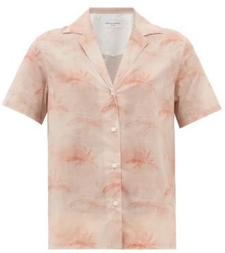 Officine Generale Christelle Palm-print Cotton Shirt - Womens - Light Pink