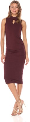 Michael Stars Women's Cotton Lycra Mock Neck Sleeveless Dress
