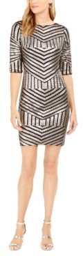 R & M Richards Petite Sequined Sheath Dress