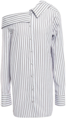 Victoria Victoria Beckham Asymmetric Striped Cotton-poplin Shirt
