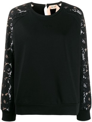 No.21 Lace Long-Sleeved Crew Neck Sweatshirt