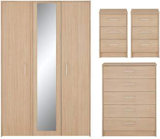 Barlow 4 Piece Package - 3 Door Mirrored Wardrobe, Chest of 5 Drawers and 2 Bedside Chests