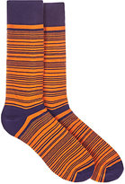 Barneys New York MEN'S STRIPED COTTON-BLEND MID-CALF SOCKS-ORANGE