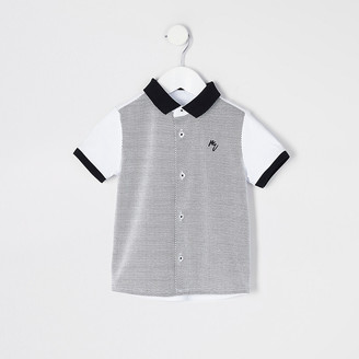 River Island Mini boys white blocked short sleeve shirt