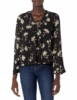 Lucca Couture Women's Floral Print Lace up Bell Sleeve Top