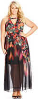 City Chic Plus Size Sleeveless Floral-Print Maxi Dress