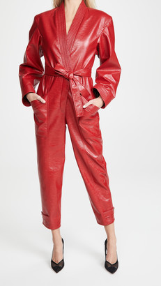 Philosophy di Lorenzo Serafini Eco-Leather Belted Jumpsuit