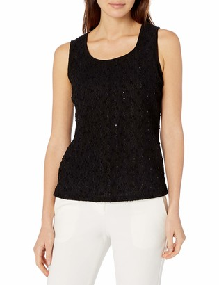 Kasper Women's Sleeveless Square Neck Sequin Knit Tank