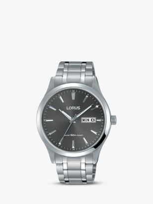 Lorus RXN35DX9 Men's Bracelet Strap Dress Watch, Silver/Black