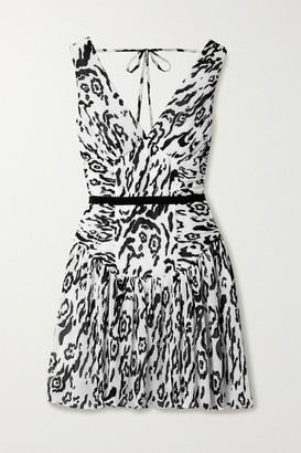 Self-Portrait Leopard-print Plisse-chiffon Mini Dress - White