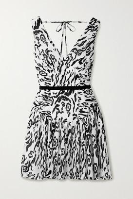 Self-Portrait Self Portrait Leopard-print Plisse-chiffon Mini Dress - White