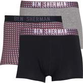 Ben Sherman Mens Bertie Three Pack Trunks Charcoal/Grey Marl Print/True Black