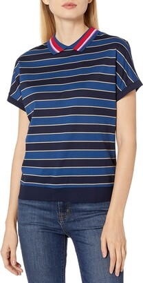 Lacoste Women's Short Sleeve All Over Striped Loose FIT Polo
