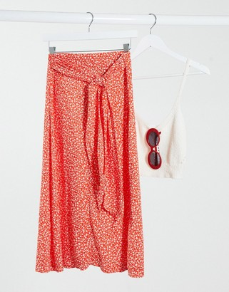 Monki Sissel tie waist floral print midi skirt in red