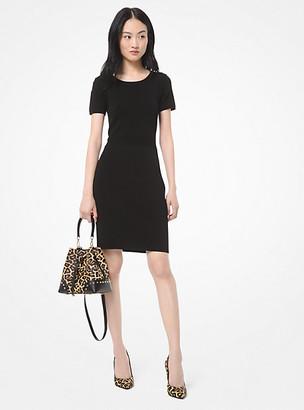 MICHAEL Michael Kors MK Textured Stretch-Viscose Dress - Black - Michael Kors
