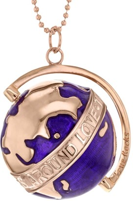 """True Rocks New Small Purple Spinning Globe Necklace In Purple Enamel & 18 Carat Rose Gold Plate """"The Whole World Revolves Around Love"""""""