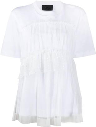 Simone Rocha White Tulle Layered T-shirt