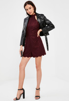 Missguided Burgundy Scallop Lace High Neck Romper