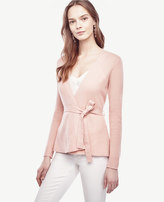 Ann Taylor Wool Cashmere Ribbed Peplum Cardigan