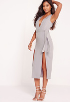 Missguided Tie Waist Thigh Split Midi Dress Grey