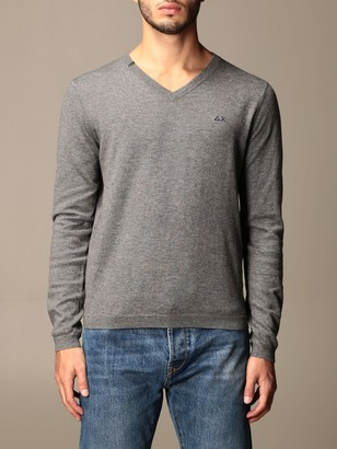 Sun 68 V-neck Sweater In Wool And Cotton