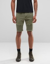 Asos Denim Shorts In Skinny with Biker Details In Khaki