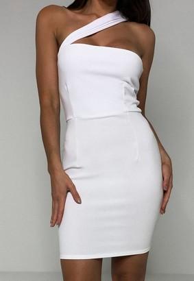 Missguided White Scuba Crepe Asymmetric Mini Dress