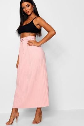 boohoo Tie Waist Pleated Midaxi Skirt