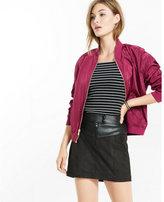 Express mixed fabric a-line mini skirt