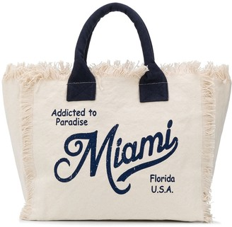 MC2 Saint Barth Slogan Print Frayed Beach Bag