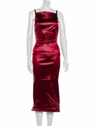 Dolce & Gabbana Square Neckline Midi Length Dress w/ Tags Red