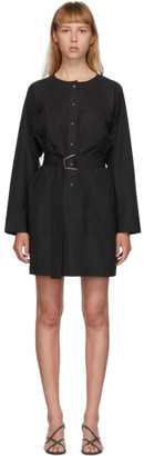 3.1 Phillip Lim Black Button-Down Belted Dress