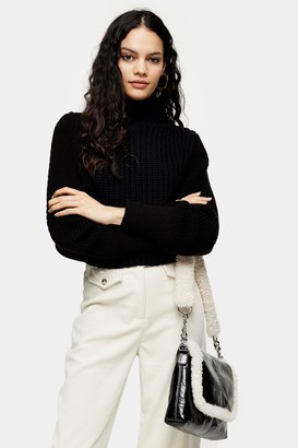 Topshop Womens Black Contrast Sleeve Jumper - Black