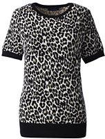 Lands' End Women's Supima Short Sleeve Jacquard Sweater-Black/Warm Canvas Plaid