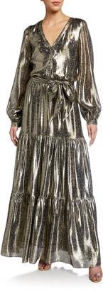 Ramy Brook Gio Printed Metallic Long-Sleeve Tiered Dress