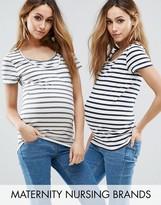 Mama Licious Mama.licious Nursing 2 Pack Striped T-Shirt