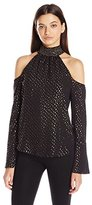XOXO Women's Foiled Print Smocked Neck Cold Shoulder Blouse