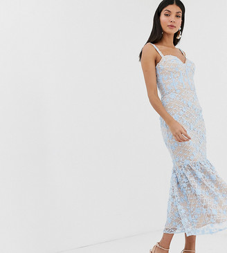 Jarlo Tall floral embroidered midi dress with peplum hem in blue